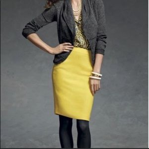 CAbi Yellow Pencil Skirt Size 8